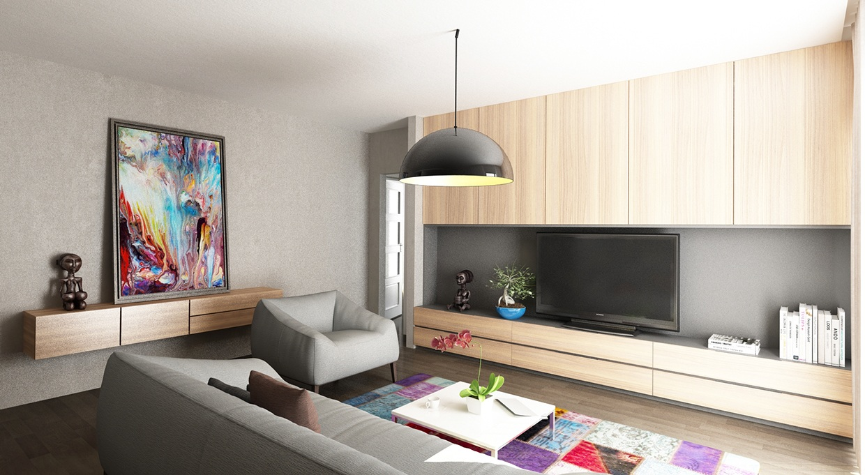 Modern Living Room - Chic studio apartments with artsy accents
