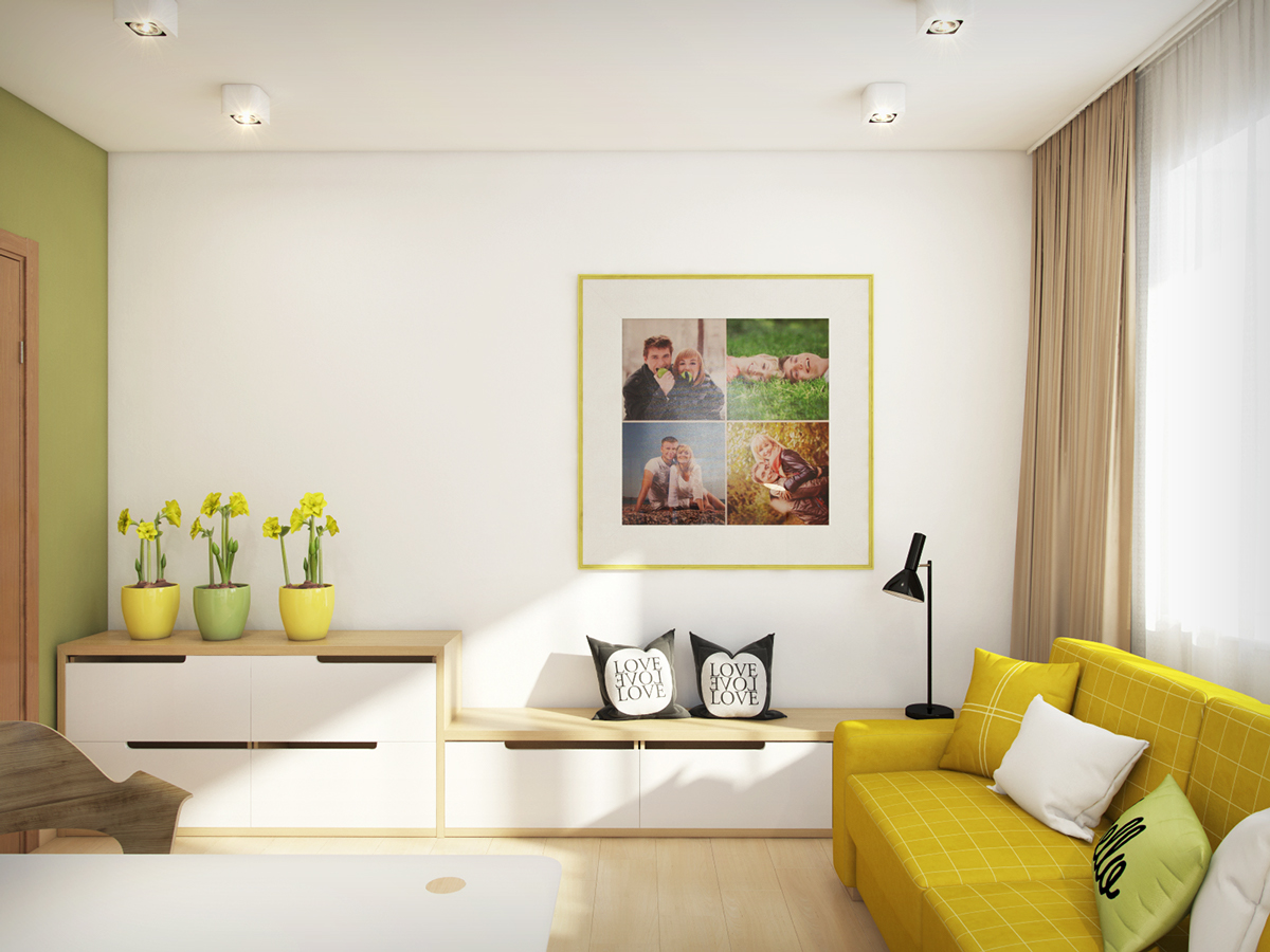 Mustard Loveseat - A cozy apartment in kyiv with soft citrus accents