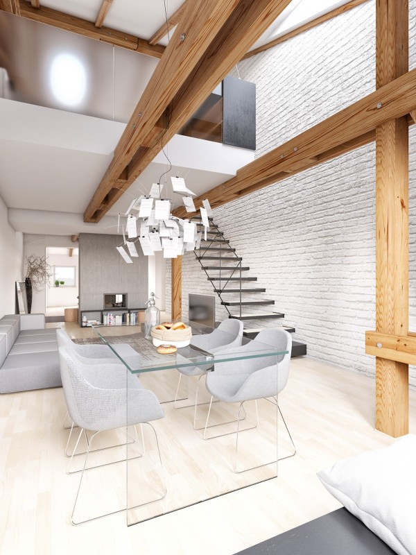 The final space, which is a flat in Prague, is modern and enviable in its simplicity. We see how white can overtake a space and bring an undeniable warmth. The white painted brick contrasts with the exposed wood beams for a mishmash of the rustic and the sophisticated.