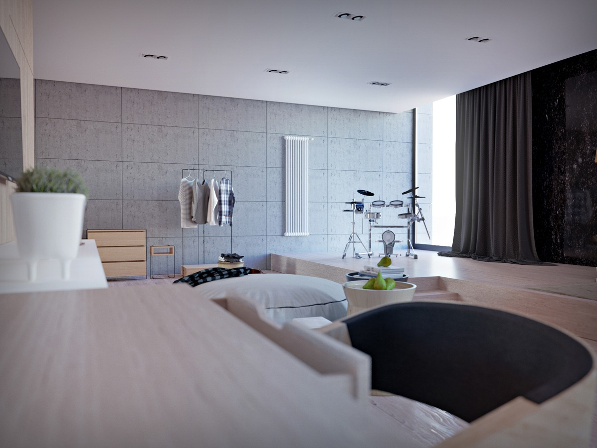 Polished Wood Flooring - Chic studio apartments with artsy accents