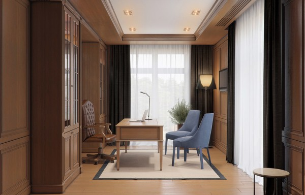 The home office is a bit darker than the rest of the home, with wood paneling on the walls. That is actually aligned with some thoughts on decorating a home office because it does allow for some separation between relaxing family areas and business time.