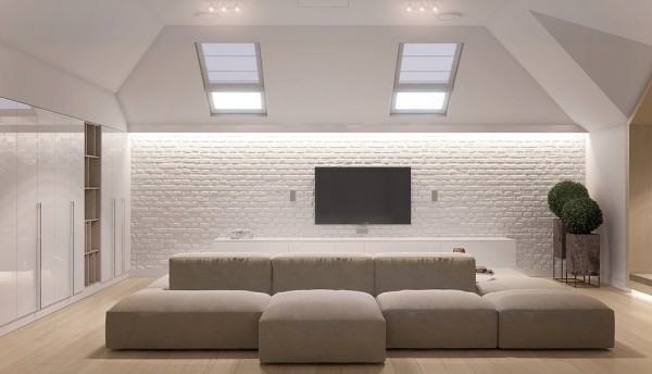 The attic area of the house is still neutral and calming, but the pitched roof and white painted brick make it just a little bit cozier. It's the perfect retreat for a teenage and her friends, with its own televisions and plenty of seating.