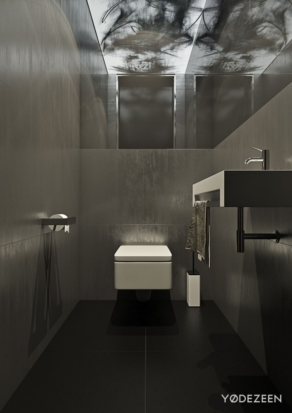 A dark and calming bachelor bad with natural wood and concrete for Sleek bathroom design