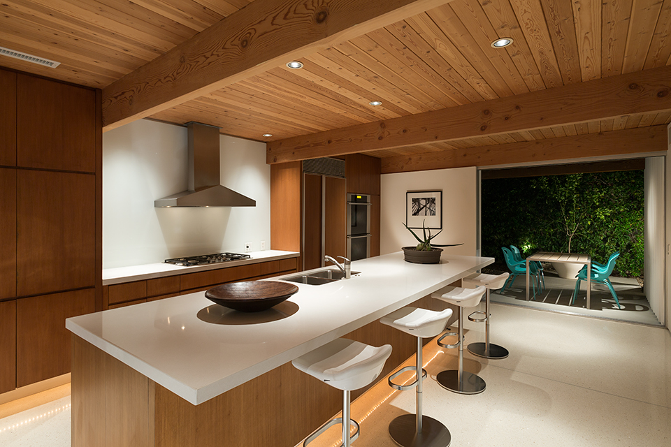 Sleek Modern Kitchen - A mid century desert oasis in palm springs