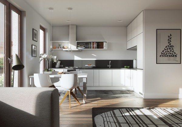 You don't need to have a lot of room for a beautiful, modern kitchen as this simple white option proves.