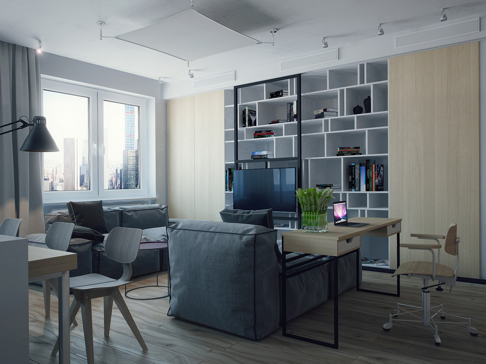 Studio apartments for young couples for Studio apartment office
