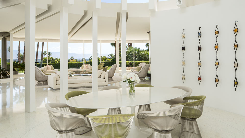 Smooth White Dining Table - Luxury socal home celebrates the endless summer