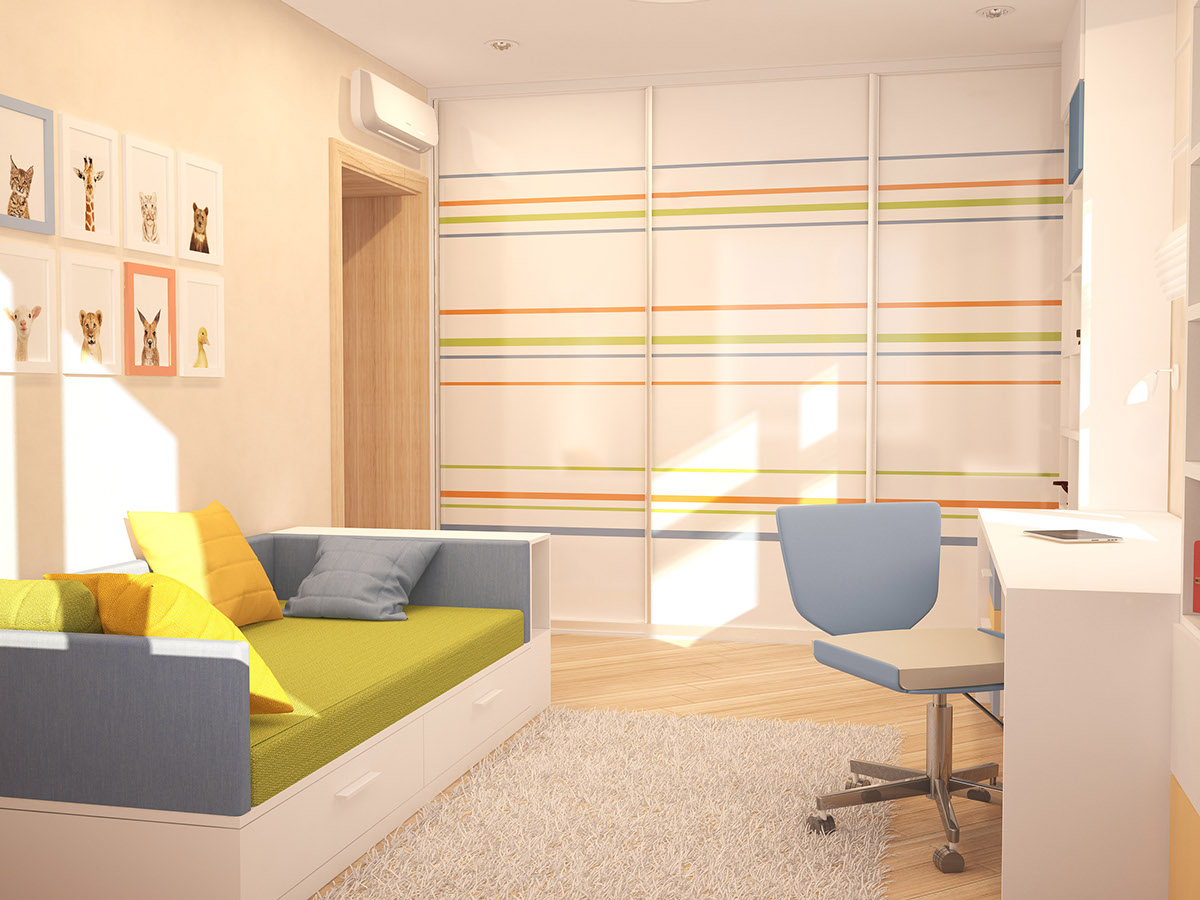 Striped Wall Treatment - A cozy apartment in kyiv with soft citrus accents