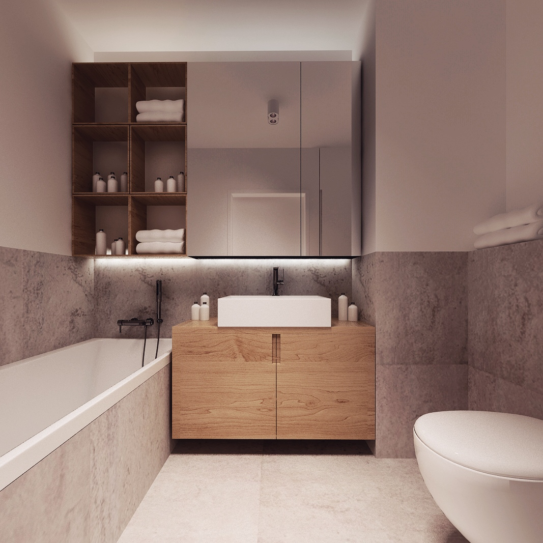 Tiled Bathroom - Chic studio apartments with artsy accents