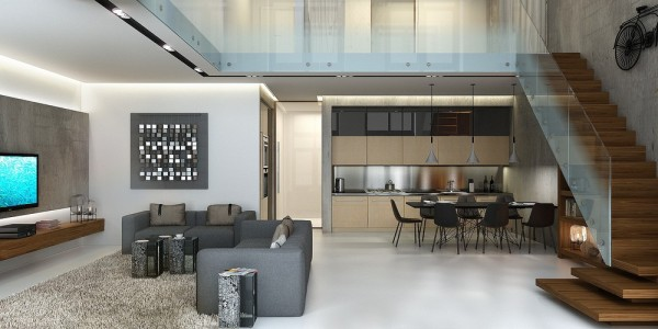 "This next space continues on a modern design theme, but in a bit more hospitable way. This space was visualized for a young family and intended to match the rest of the apartment building where it exists. From the ground floor, the ceilings measure up 6.5 meters (more than 21 feet). The concrete, glass, and metal used throughout the design may not scream ""family friendly"" but they do manage create a safe and stylish space with a reasonable dose of that industrial loft style."