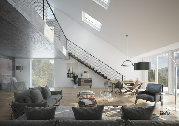 In the final space, we have a deeply modern approach to the highly slanted ceiling. A lofted bed area lies up a set of minimalist stairs while the main living area benefits from the massive overhead space. Modern, minimal furniture and lots of grey and white make this home just a bit edgy but ultimately comfortable.