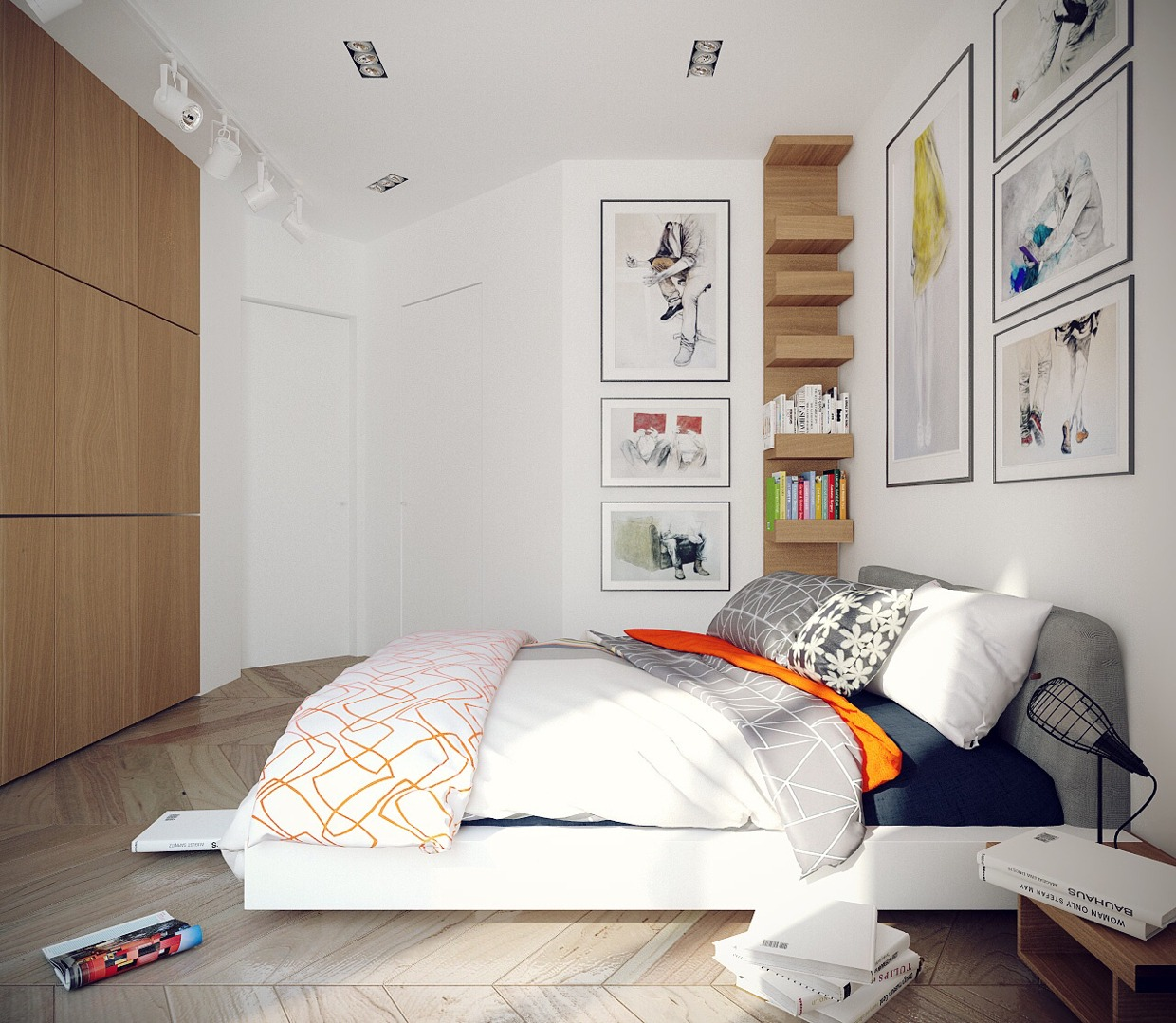 White Bedroom - Chic studio apartments with artsy accents