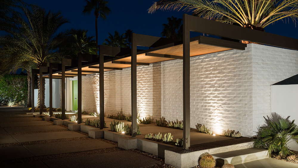 White Brick Home Exterior - A mid century desert oasis in palm springs