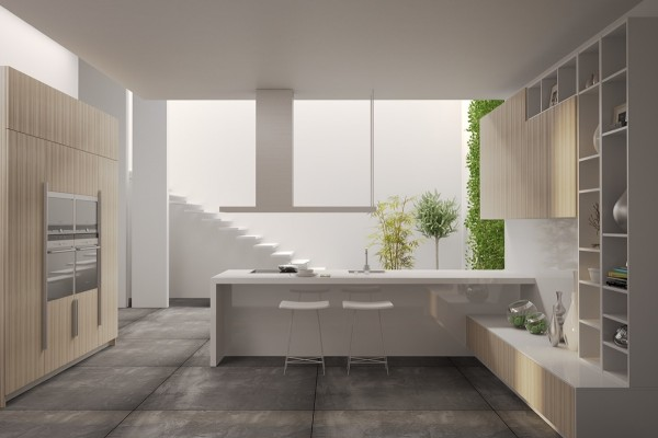 White counters and open cabinets are completely on trend.
