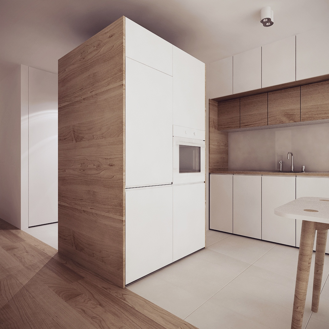 Wood Panel Cabinets - Chic studio apartments with artsy accents