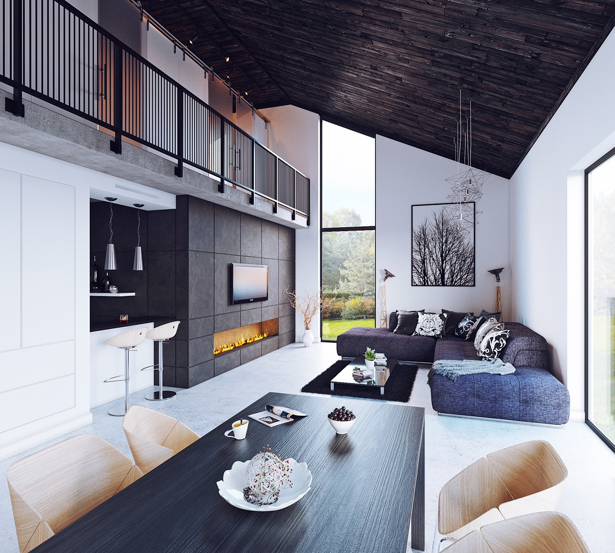 Wood Paneled Ceiling - Lovely living rooms for a design loving life