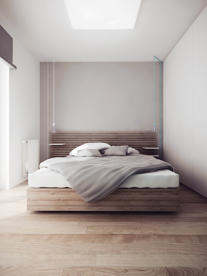 Wood Slat Bed - Chic studio apartments with artsy accents