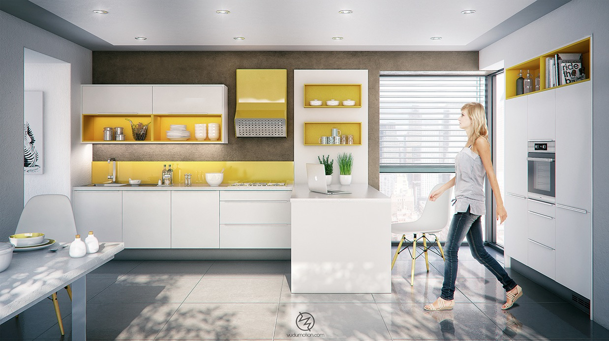 Tiny Yellow And White Kitchen