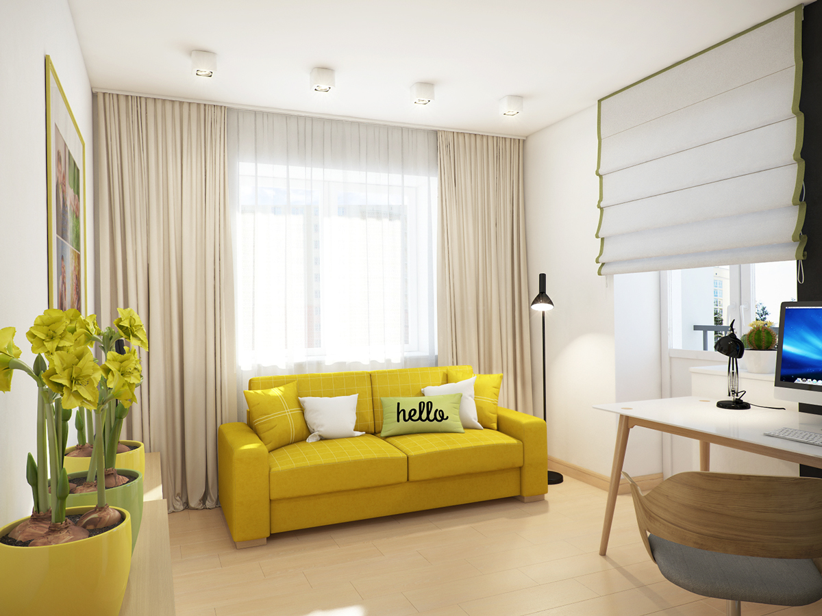 Yellow Loveseat - A cozy apartment in kyiv with soft citrus accents