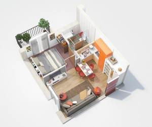 This small one bedroom has a colorful kitchen and tiny balcony, making it perfect for a young couple.