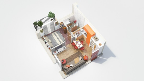 This Small One Bedroom Has A Colorful Kitchen And Tiny Balcony, Making It  Perfect For