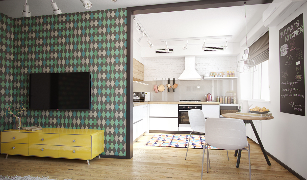 Almost Argyle Wallpaper - 4 studios under 50 square meters that use playful patterns to good effect