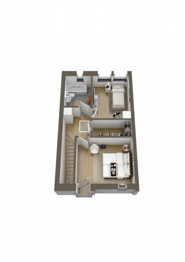 This two story layout puts the bedrooms and bath upstairs for maximum privacy.