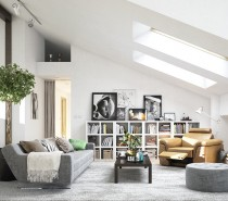 As sunlight streams in from overhead skylights, it illuminates the clean lines and carefully chosen furnishings in this lovely top level apartment.