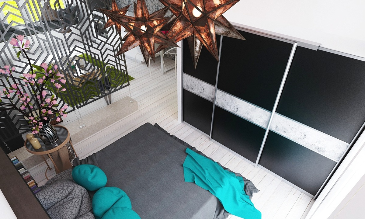 Bedroom Divider Walls - 4 studios under 50 square meters that use playful patterns to good effect