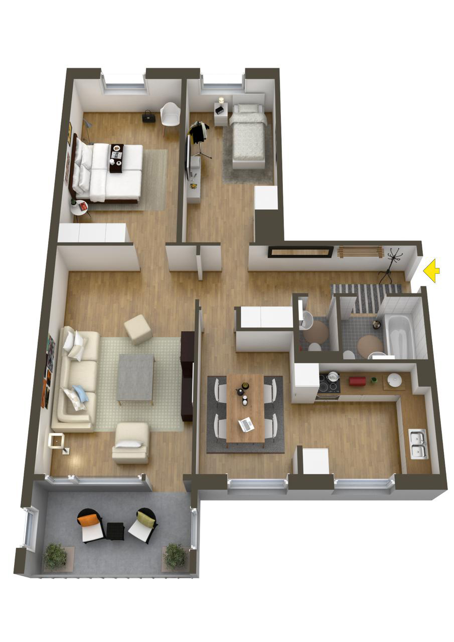 40 more 2 bedroom home floor plans for 100m2 apartment design