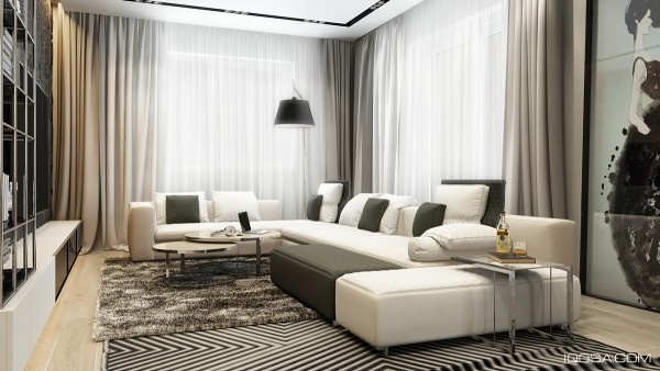 First up is the living room which centers on a large smooth sectional sofa