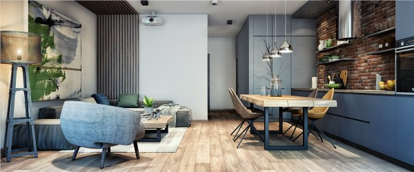 The second space is not that dissimilar, although the colors are a bit more muted overall. The dining and living area is mostly wood and grey, for a trendy industrial feel without going so far as to incorporate a lot of corrugated metal and concrete. The dining chairs with pointed backs do enough towards that uncomfortable end.