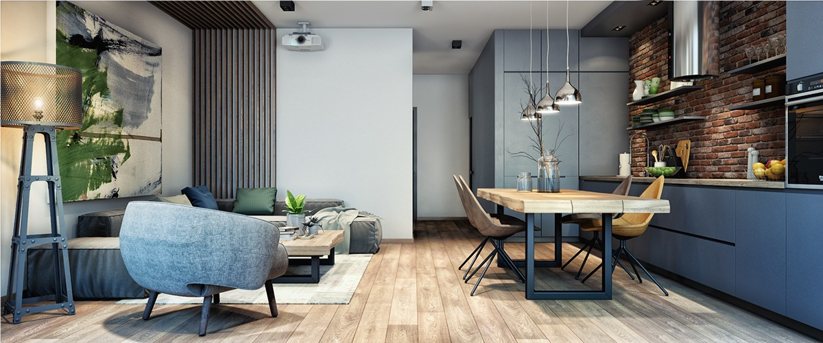 Black And Wood Apartment - 2 luxury apartment designs for young couples
