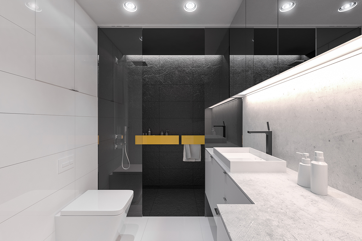 50 Square Meter... Yellow And Black Bathroom