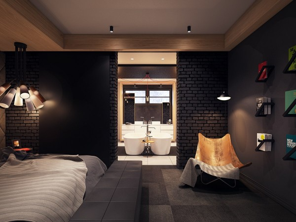 Black bricks a seductive home with lush colors and double baths black bricks