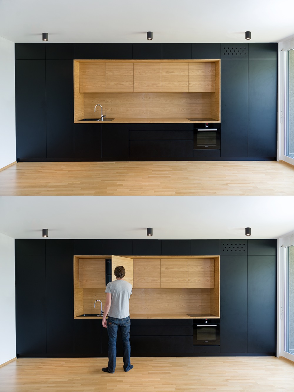 Black white wood kitchens ideas inspiration for Amenagement placard de cuisine
