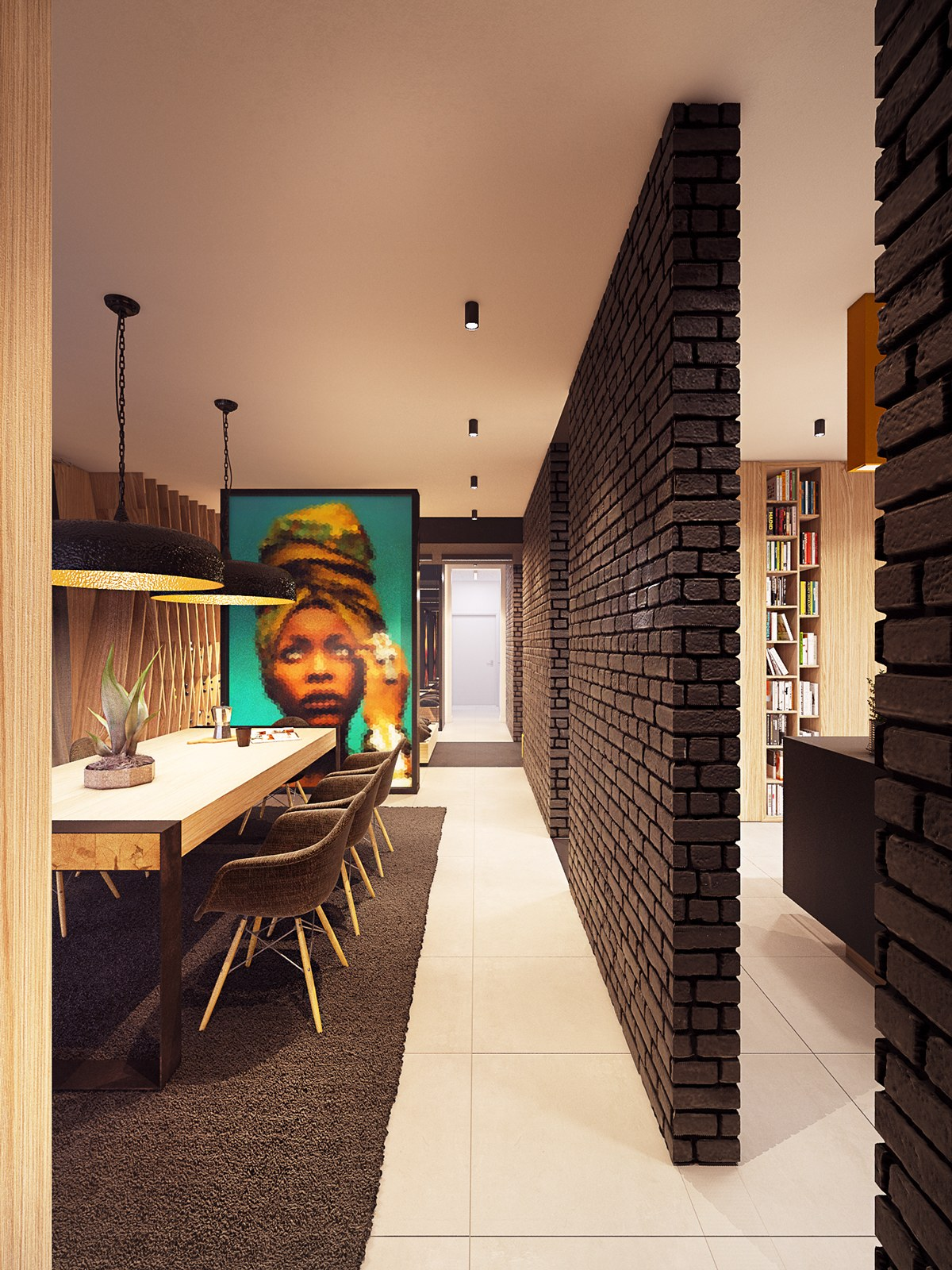 Brick Design - A seductive home with lush colors and double baths
