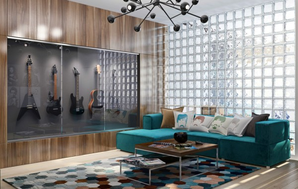 The first space is home to a musician, his wife who is a photographer, and their two children. The space measures 135 square meters (1453 square feet). The living areas are communal for the entire family, but the space also includes a photo lab, a music studio, and a gallery.
