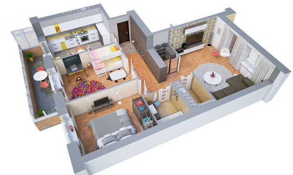 The colors included in this layout really give you the sense of it being lived in and loved. Bunkbeds mean that the two bedroom can easily be a home for a growing family.