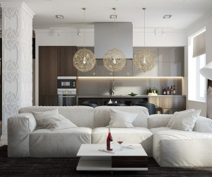 In the second home, white dominates. A large white sofa stands in contrast to dark brown rugs and walls, which creates an almost regal effect. A bit of exposed wood and brick in the home office has its own rustic charm while the bedroom trends back towards royalty with its canopy bed and chandelier.