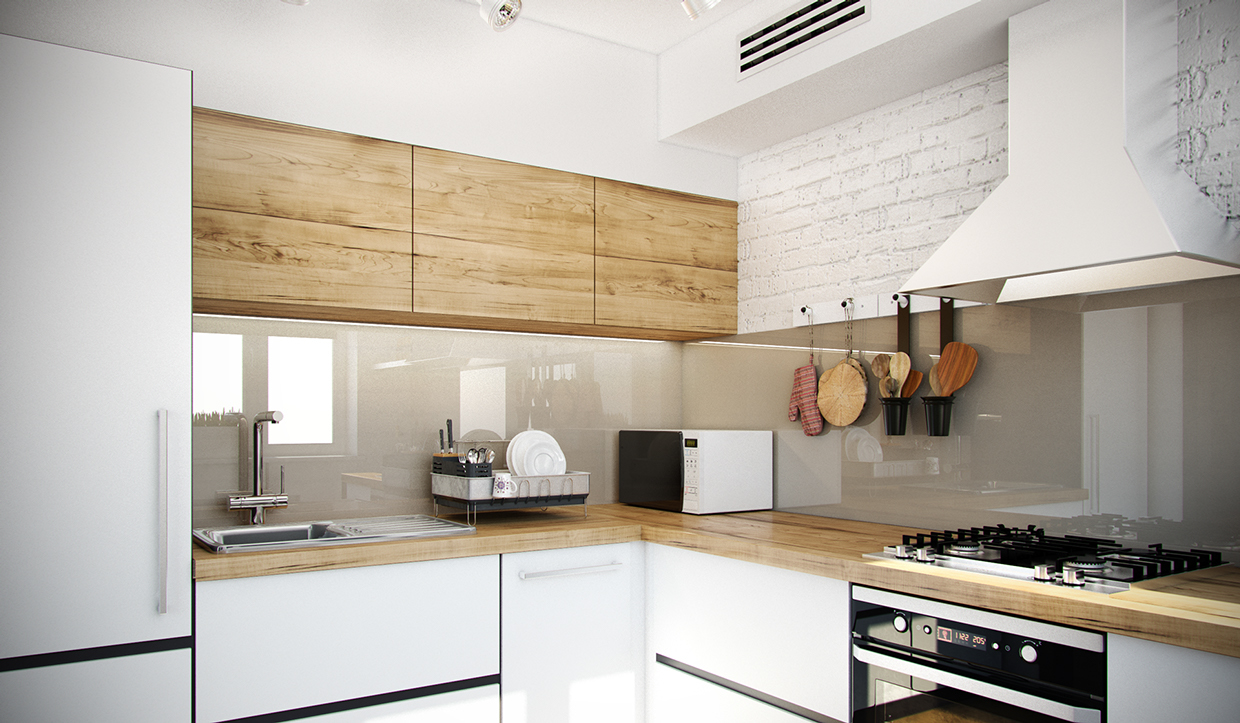 Butcher Block Countertop - 4 studios under 50 square meters that use playful patterns to good effect