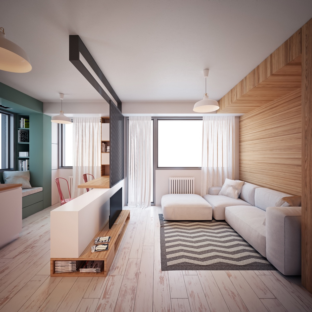 Ultra tiny home design 4 interiors under 40 square meters for Living room 10 square meters