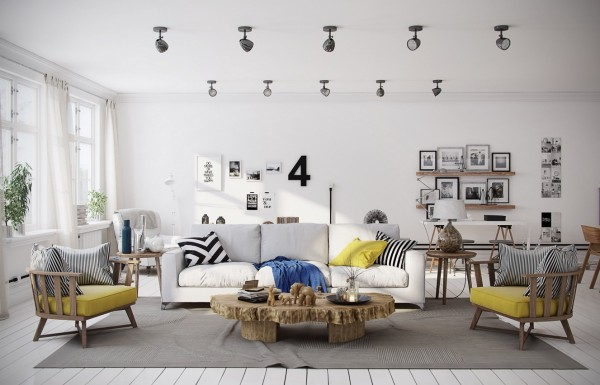 Home Design Ideas and Tips: chevron yellow living room