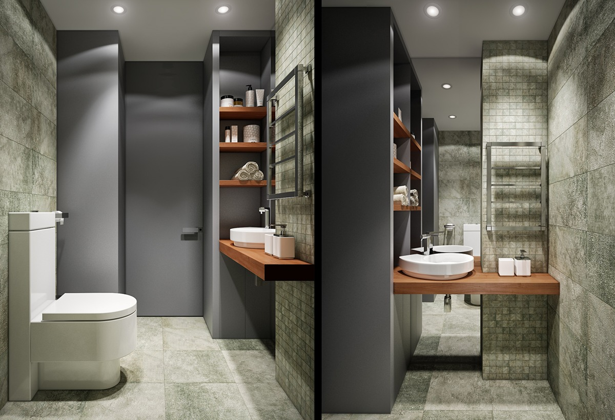 Cool Green Bathroom Design - 2 luxury apartment designs for young couples