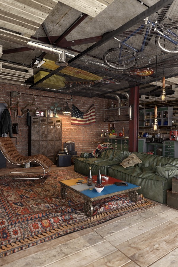 One of the more notable elements of this wild and free artist loft is the creation of the ceiling storage space. A woven metal panel creates an overhead space for storage, but allows the stored items to be visible, letting even what amounts to a glorified closet become part of the apartment's personality.