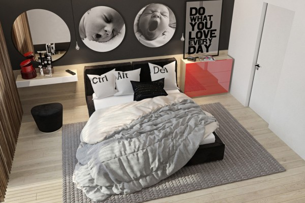 Bedrooms for the parents and older child, plus a nursery for the baby, offer not only privacy but also personality. Each has its own colors and graphic elements while still working to form a cohesive design throughout the house.