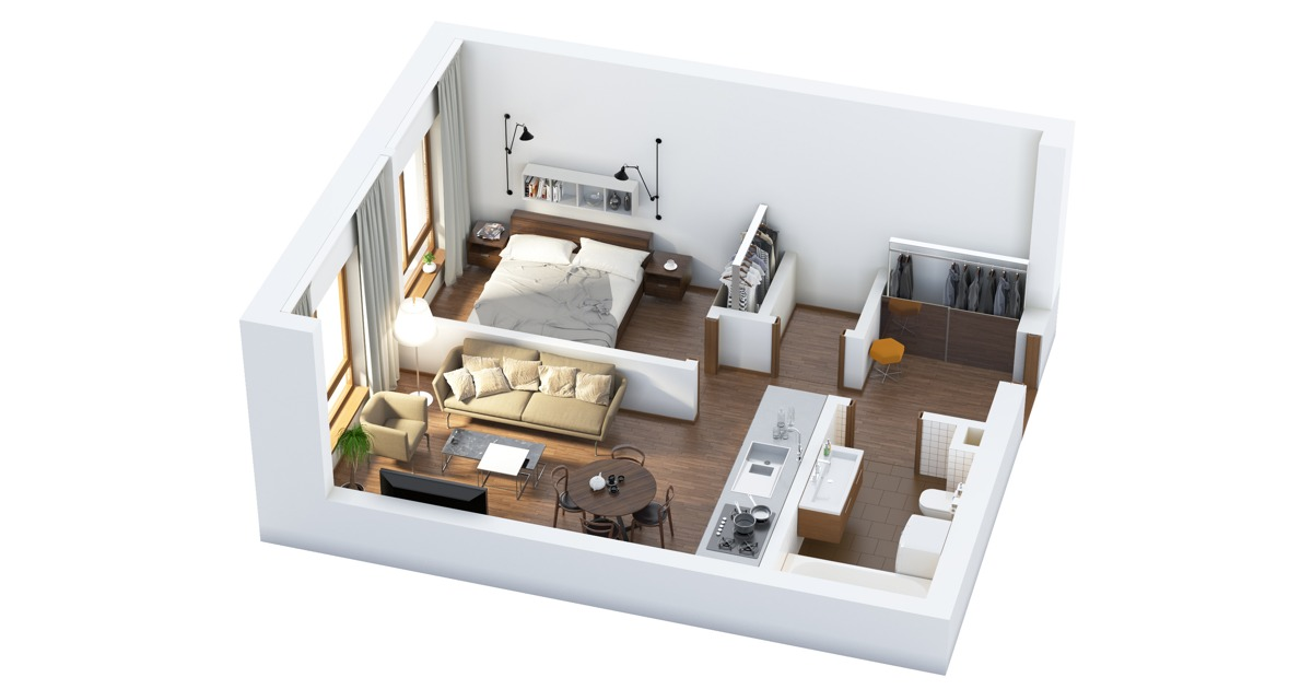 40 more 1 bedroom home floor plans - 1 Bedroom Interior Design