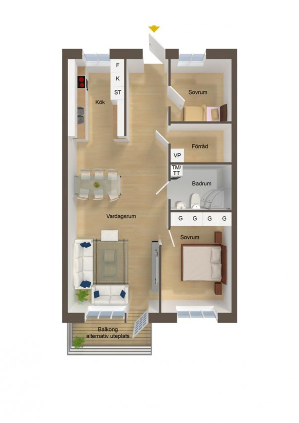 40 more 2 bedroom home floor plans for Small house design drawing