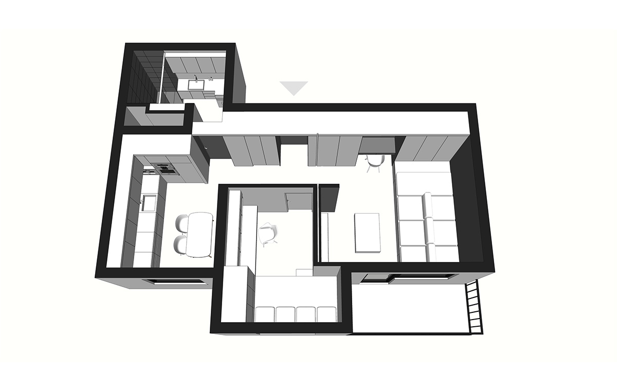 General Apartment Layout - 50 sq meter space saving apartment layout for young family