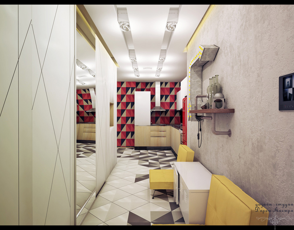 Geometric Wall Pattern - 4 studios under 50 square meters that use playful patterns to good effect
